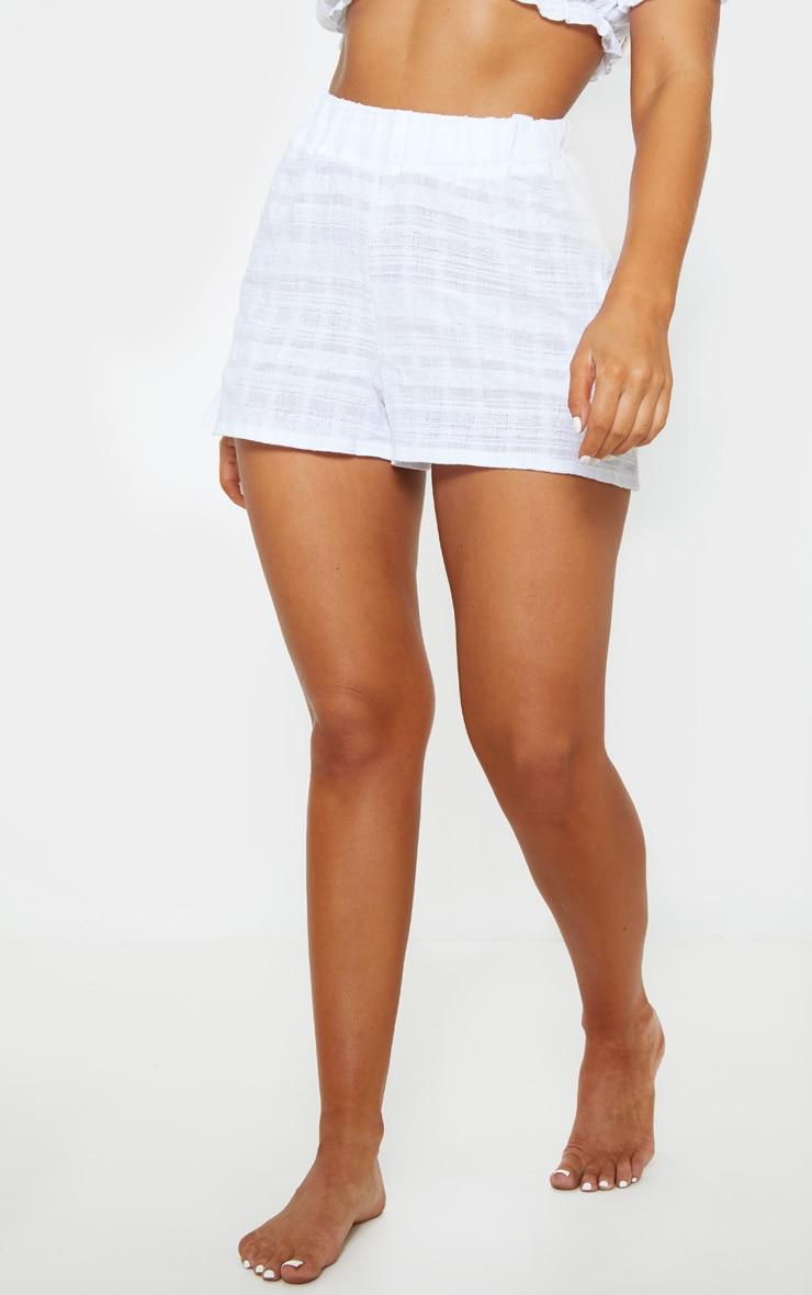 White Cotton Check Beach Shorts 2