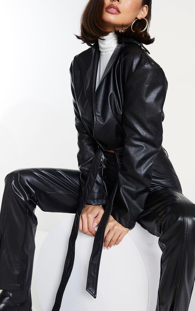 Black Faux Leather Super Cropped Belted Front Jacket 4
