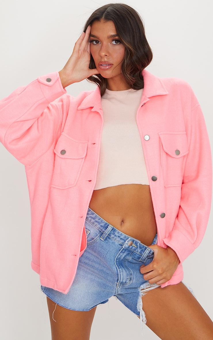 Neon Pink Pocket Front Shacket
