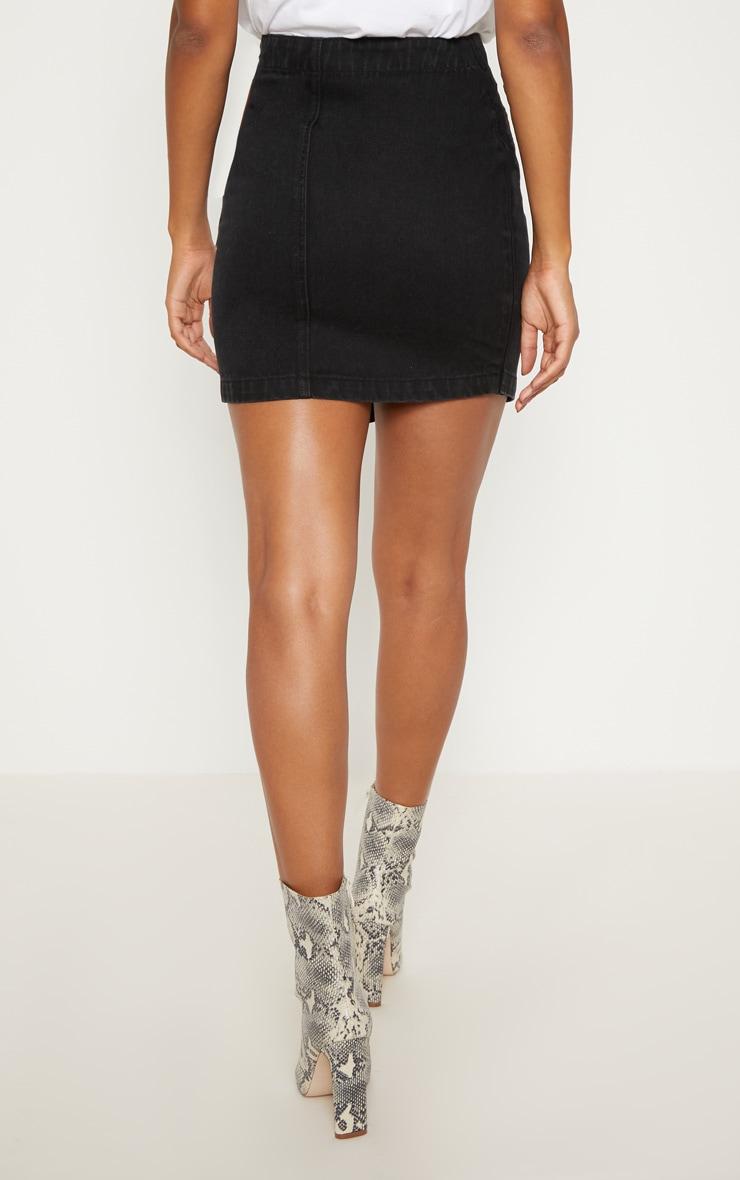 Black Button Through Wrap Skirt  4