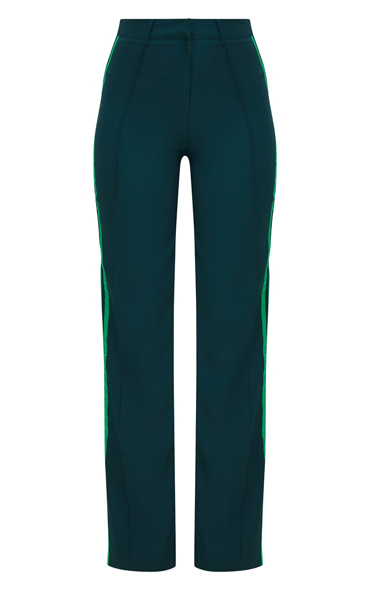 Dark Green Track Stripe High Waisted Straight Leg Trousers 3