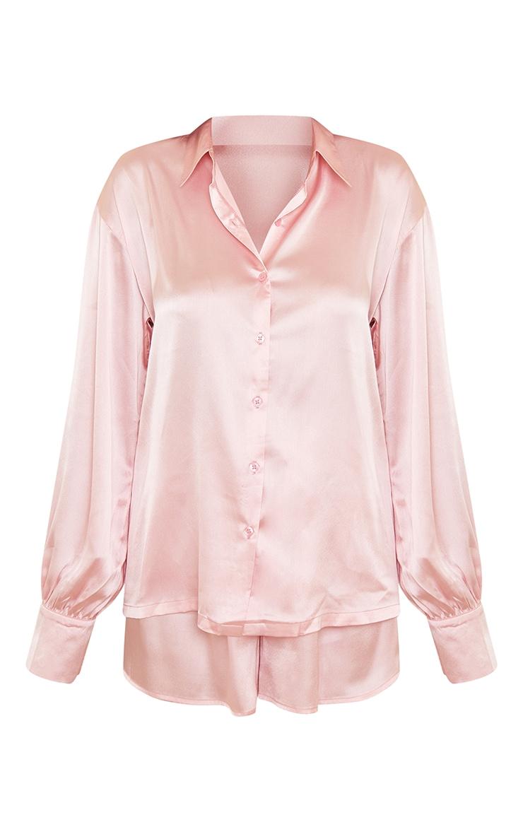 Pink Oversized Short Satin PJ Set 5