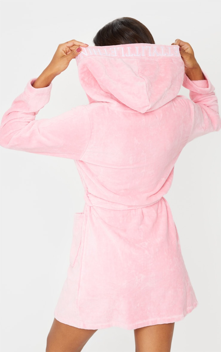 PRETTYLITTLETHING Pink Hood Detail Towelled Dressing Gown 2