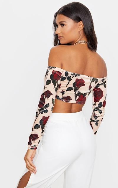 Cream Dark Rose Printed Velvet Tie Front Bardot Crop Top
