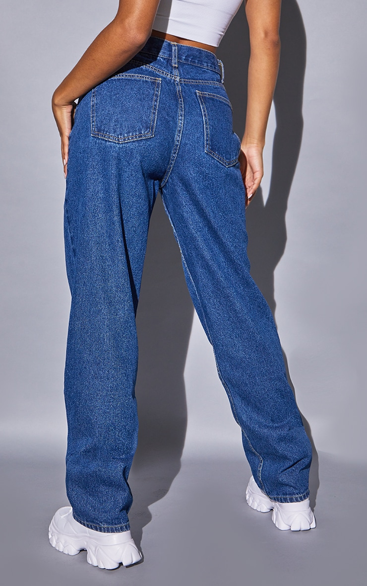 Recycled Mid Blue Wash Basic Low Rise Baggy Boyfriend Jeans 3
