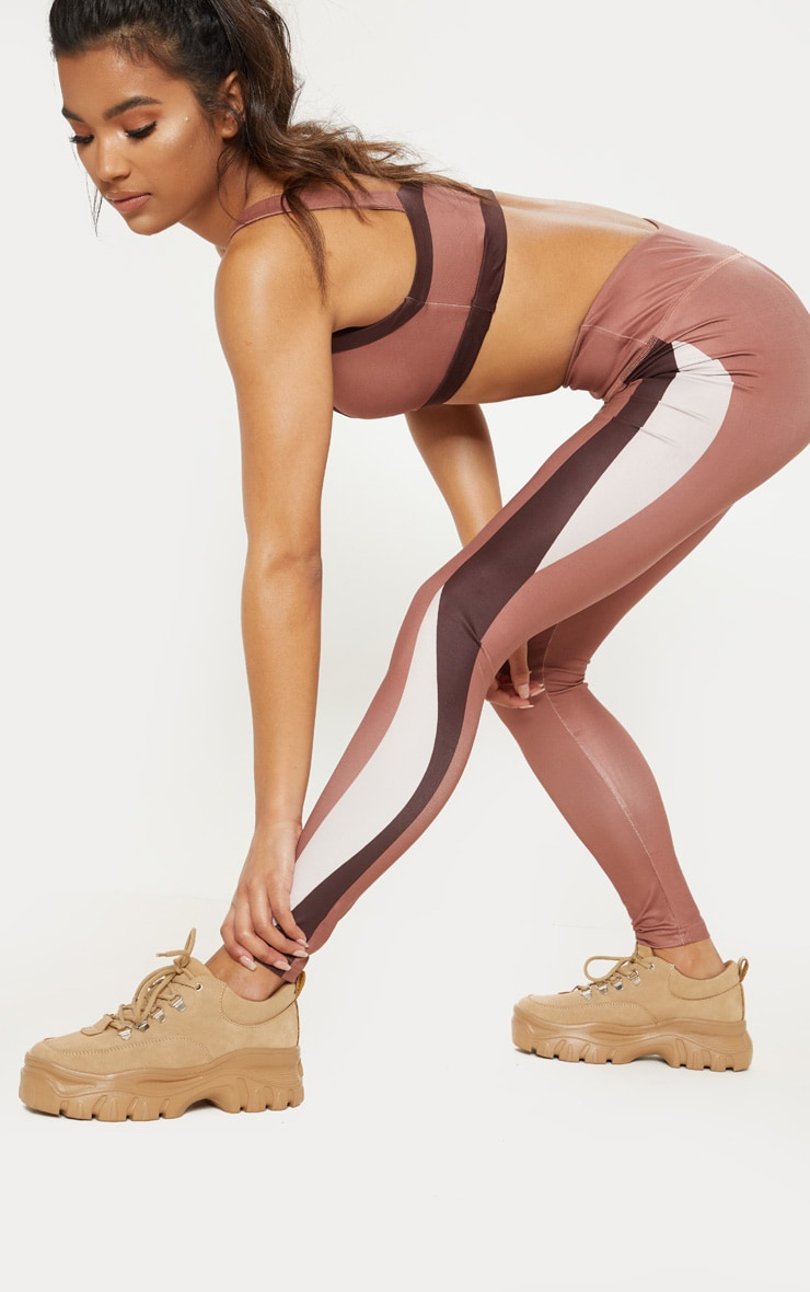 Rose Contrast Panelled Sports Gym Legging