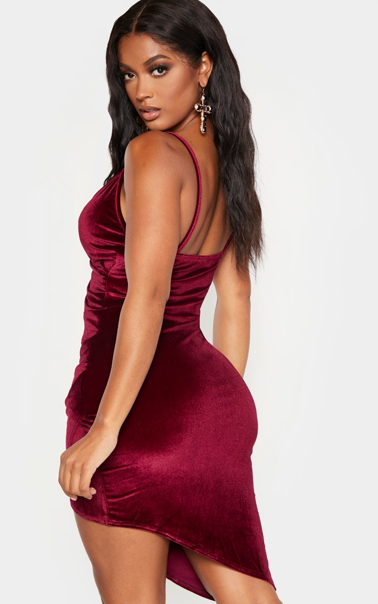 Shape Burgundy Velvet Strappy Wrap Bodycon Dress 2