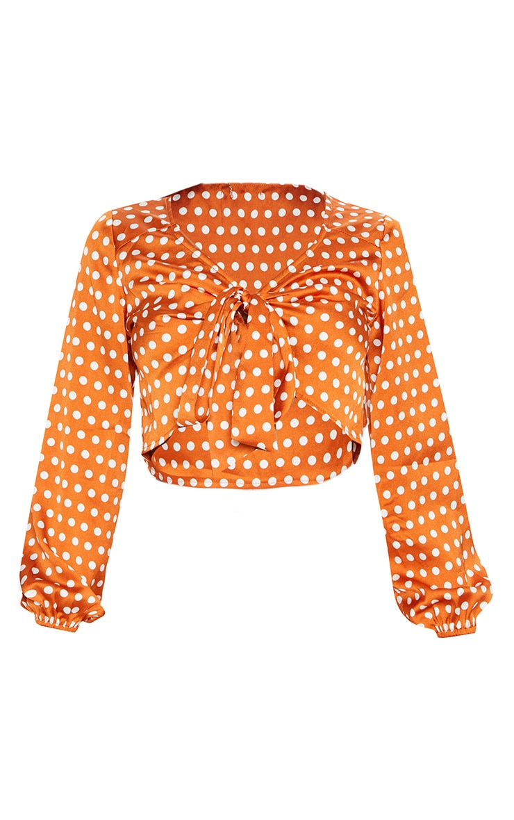 Burnt Orange Satin Polka Dot Tie Front Blouse 3