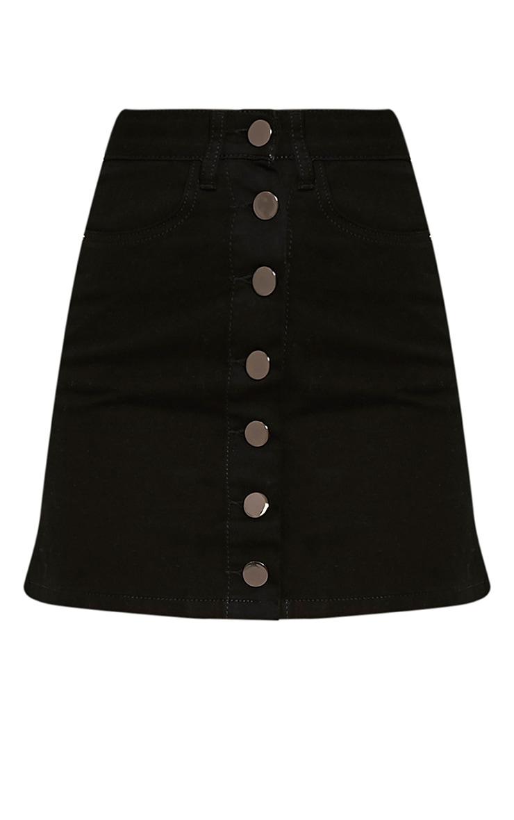 Kaela Black Denim Button Down Skirt 3