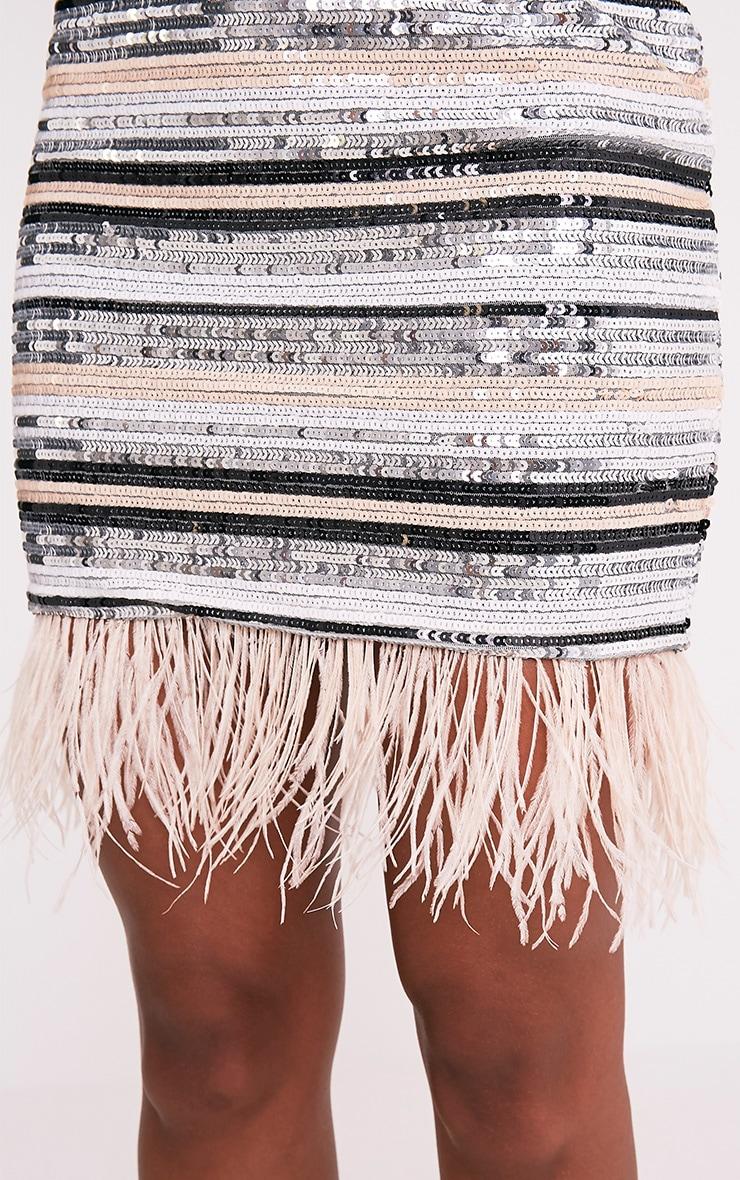 Elva Nude Feather Trim Sequin Mini Skirt 6