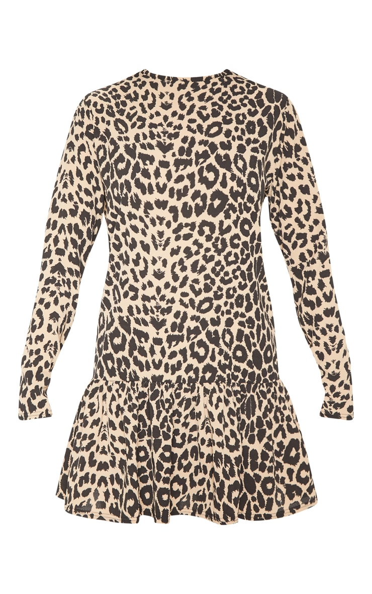 Brown Leopard Long Sleeve Frill Hem Shift Dress 3
