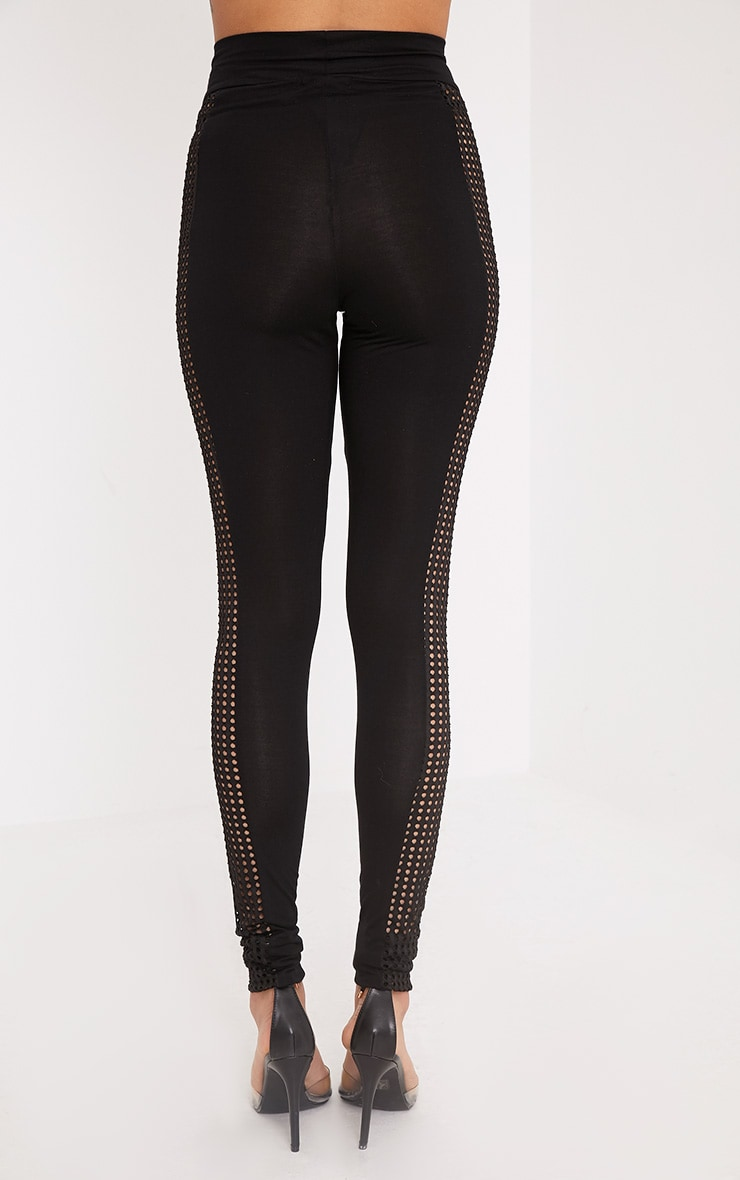 Wanita Black Fishnet Panel Leggings 4