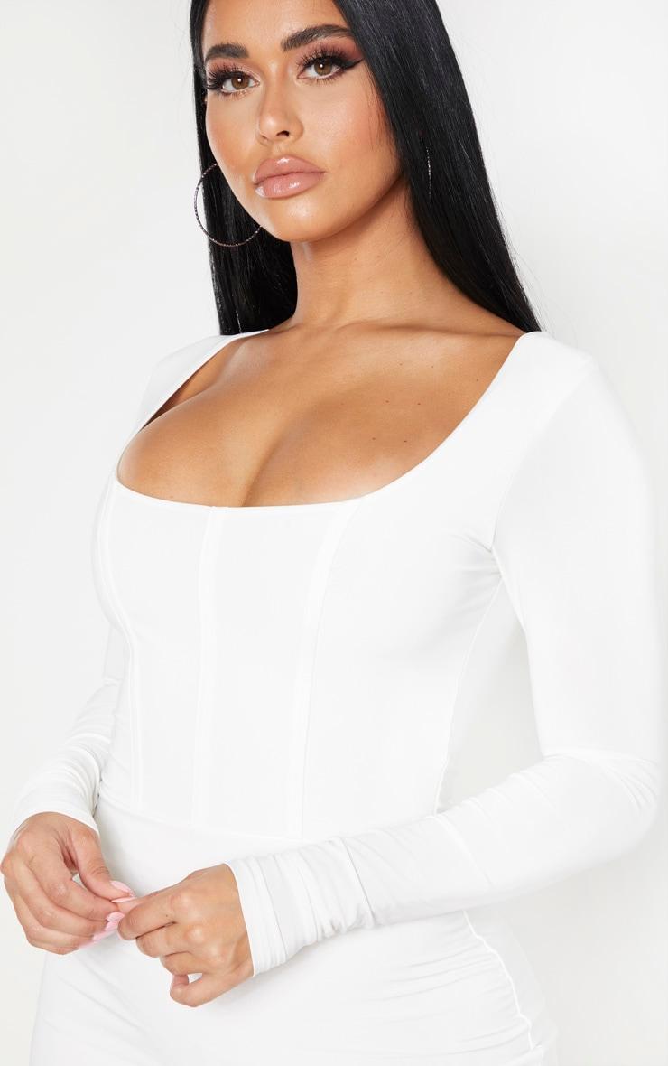 Shape White Slinky Panelled Long Sleeve Midi Dress 4