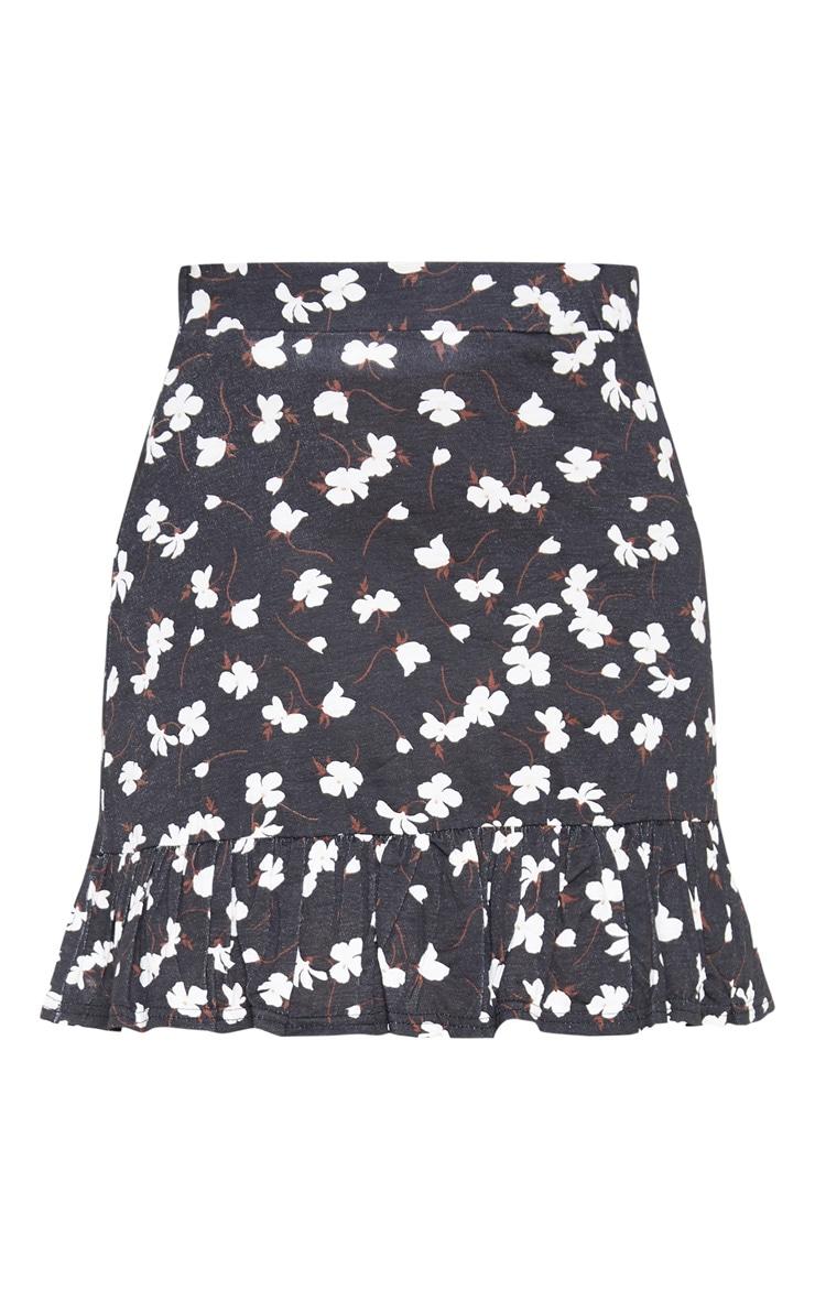 Black Ditsy Floral Frill Hem Skater Skirt  3