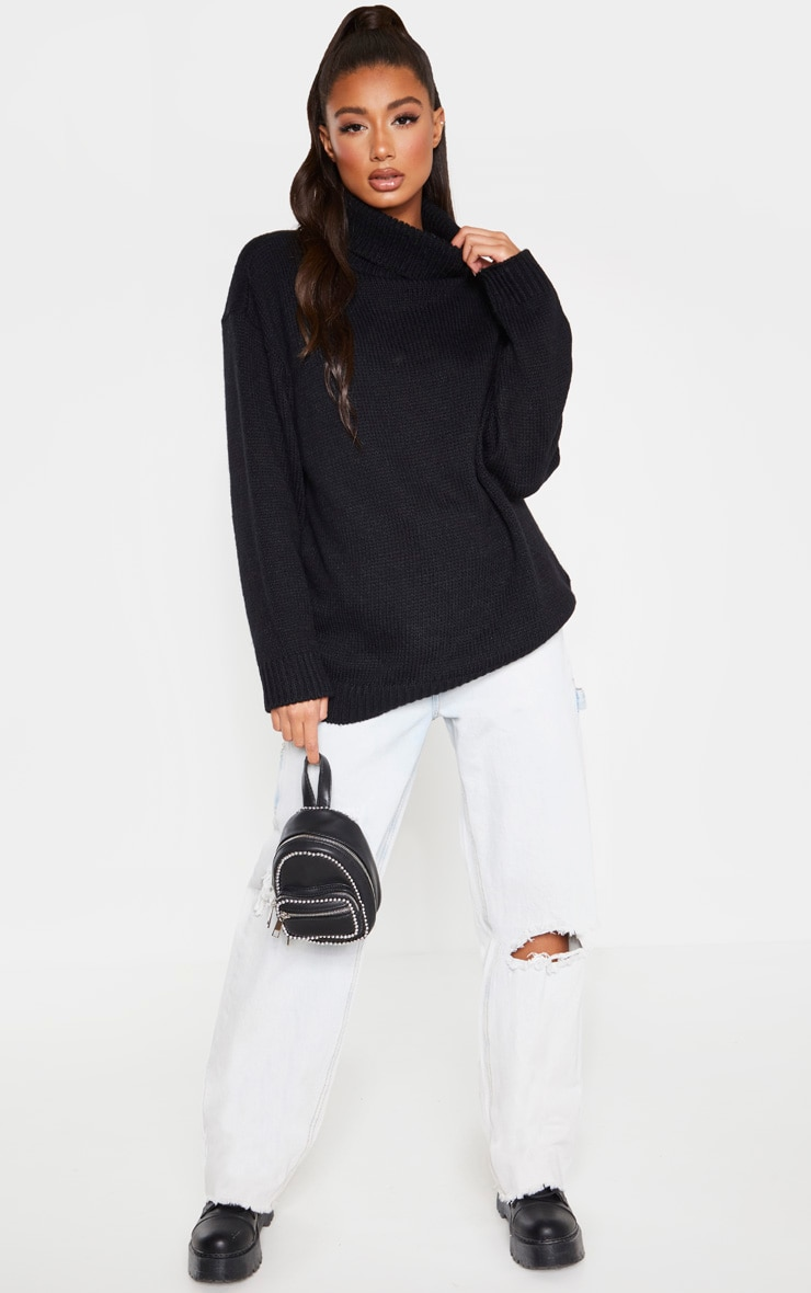 Black High Neck Fluffy Knit Sweater 4