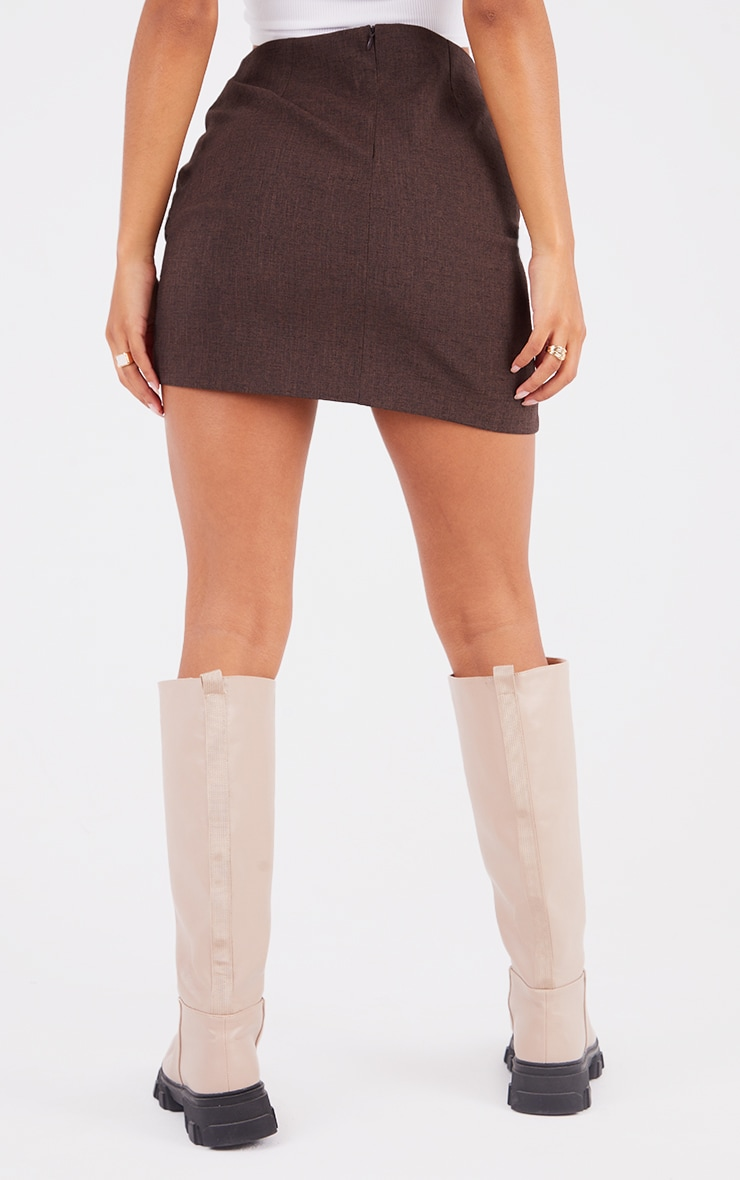 Brown Woven Ruched Front Wrap Over Skirt 3