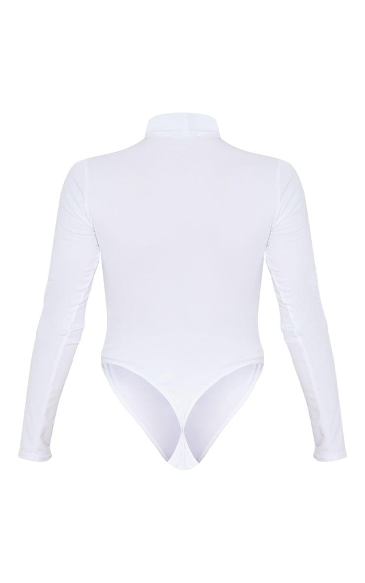 Body en crêpe blanc à détail découpes 4