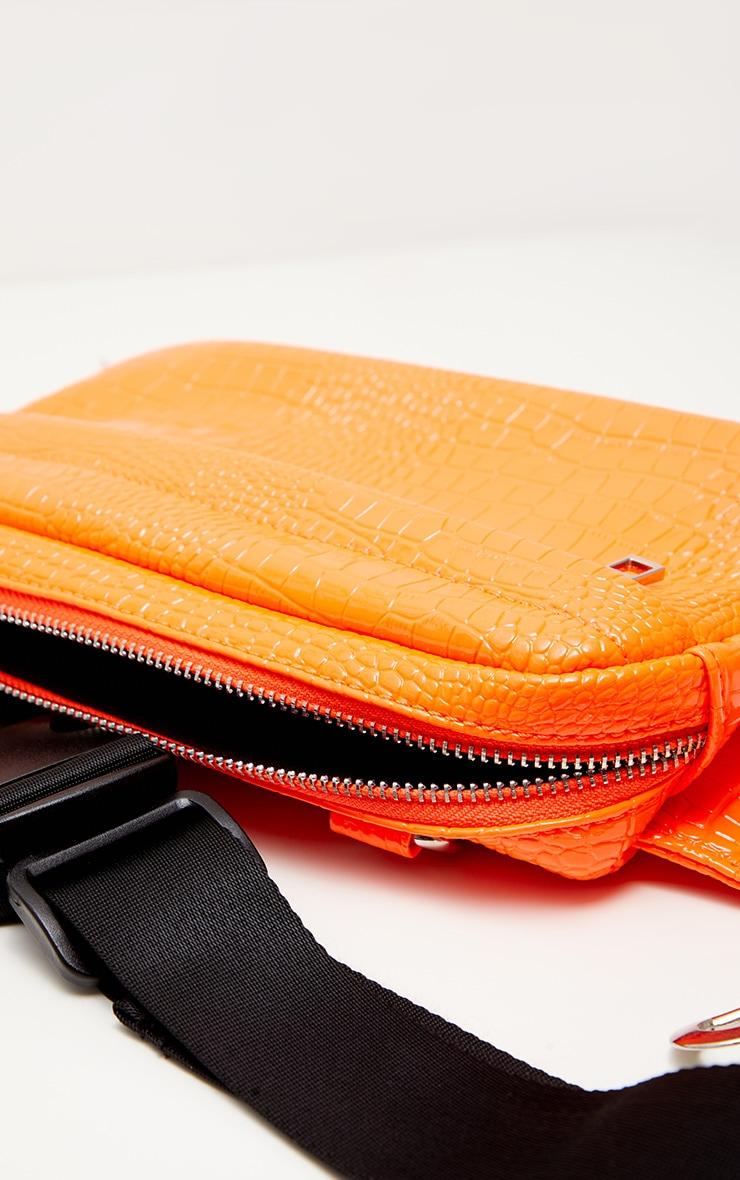 Orange Croc Patent Long Bum Bag 3