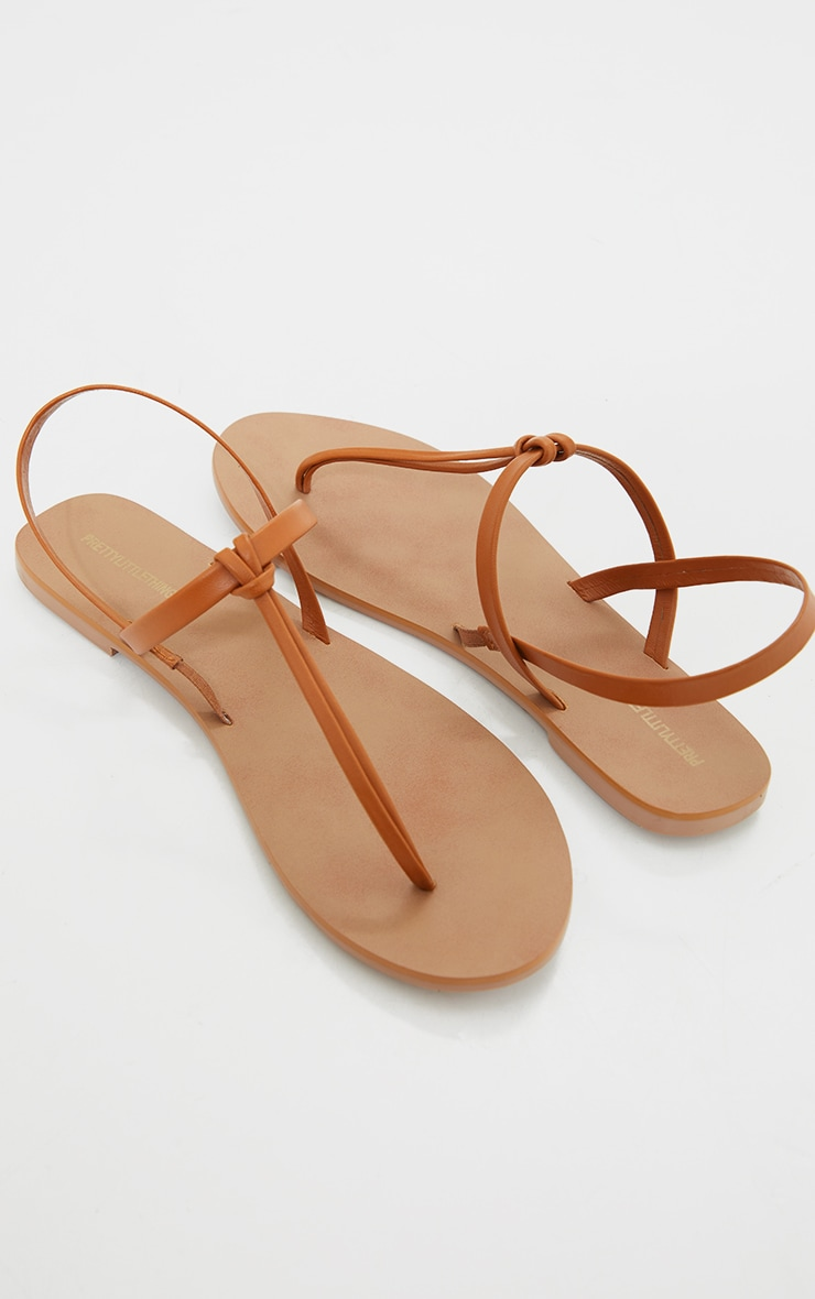 Tan Real Leather PU Toe Thong Sling Back Sandals 3