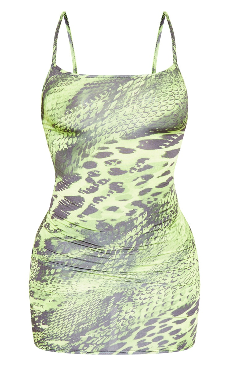 Lime Strappy Animal Print Bodycon Dress 3