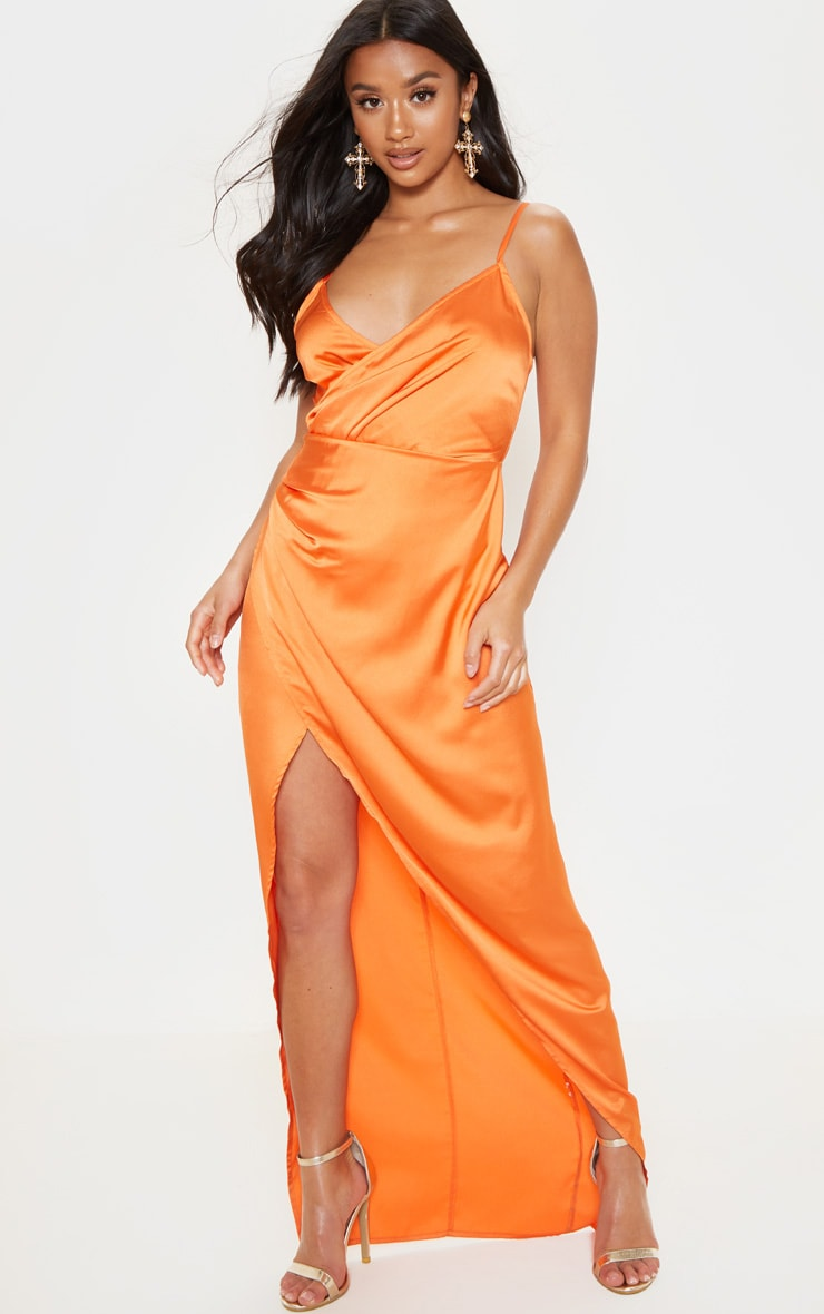 Petite Orange Satin Wrap Detail Maxi Dress 4