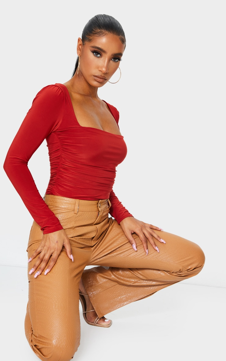 Rust Slinky Ruched Long Sleeve Square Neck Bodysuit 3