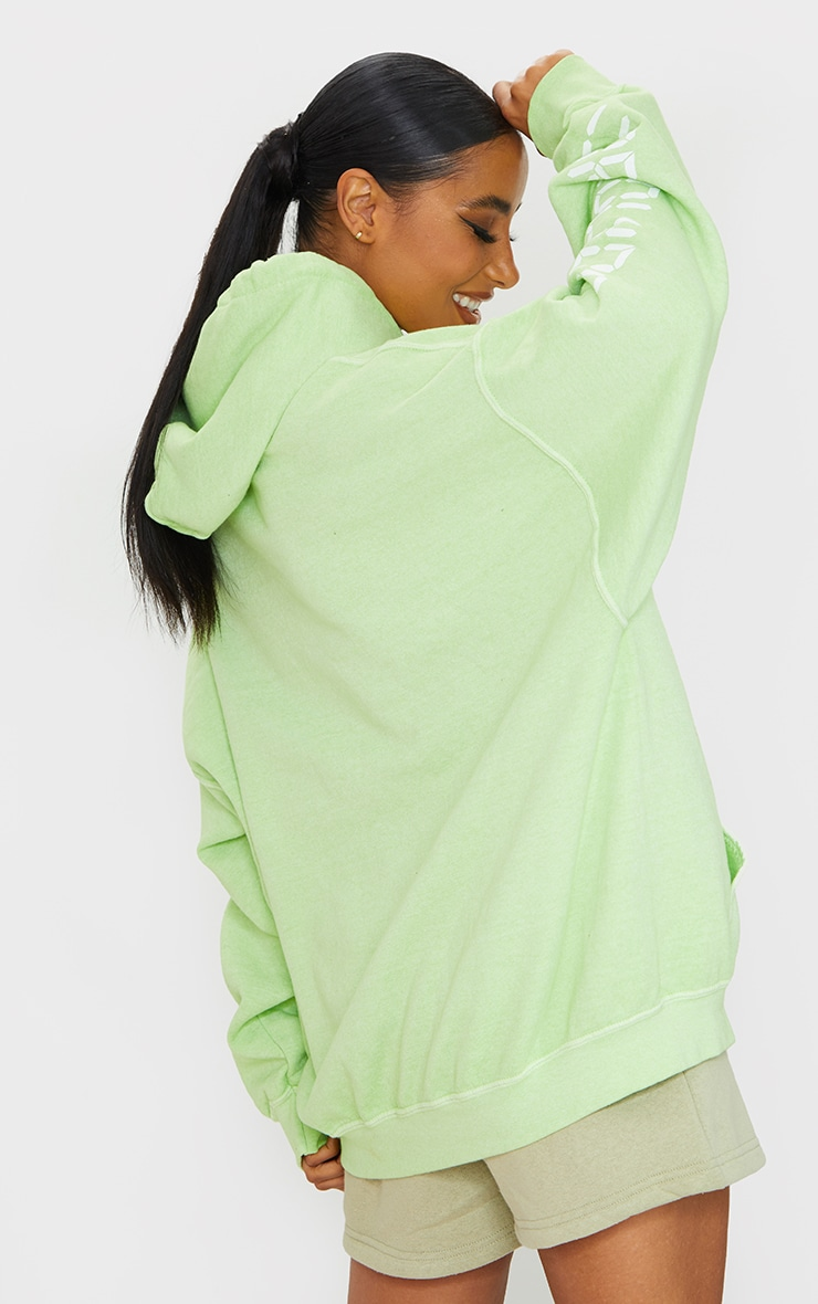 Lime Worldwide Slogan Oversized Hoodie 2