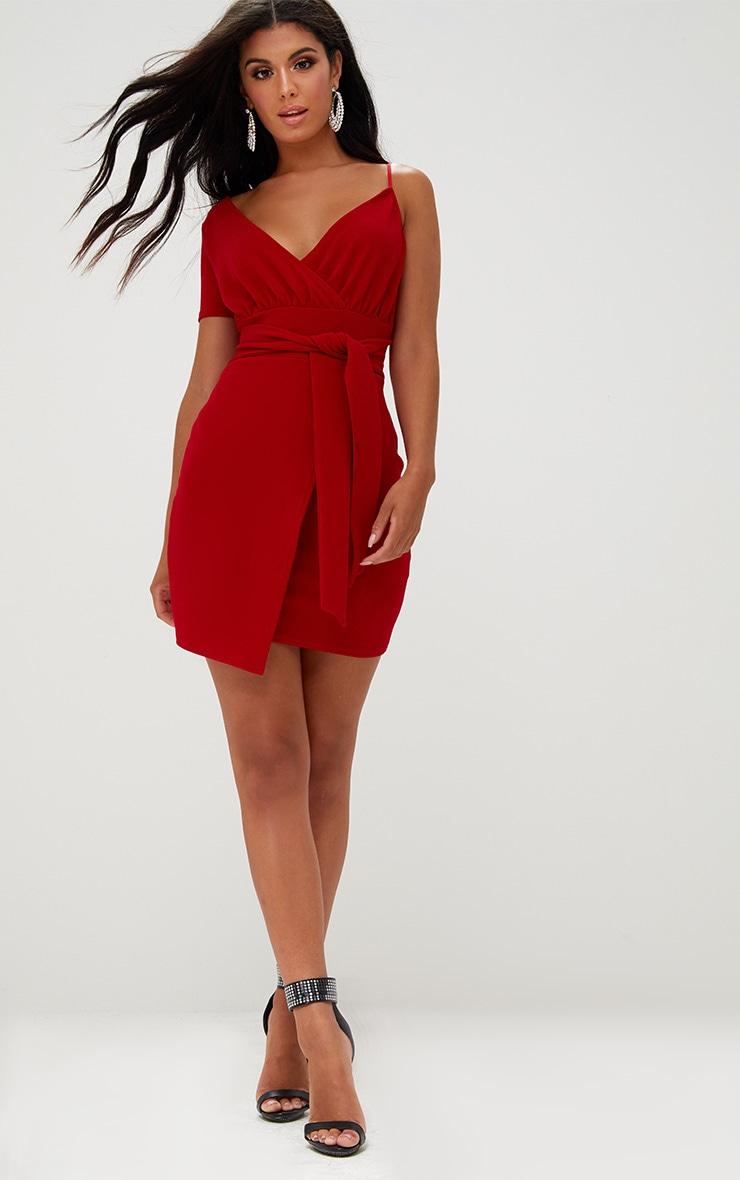 Red Asymmetric Wrap Bodycon Dress Prettylittlething Usa