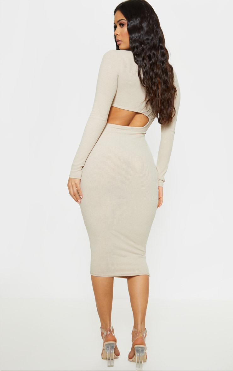 Stone Ribbed Cut Out Long Sleeve Midi Dress 2