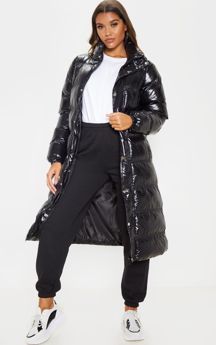 Black Maxi High Shine Fitted Puffer 1