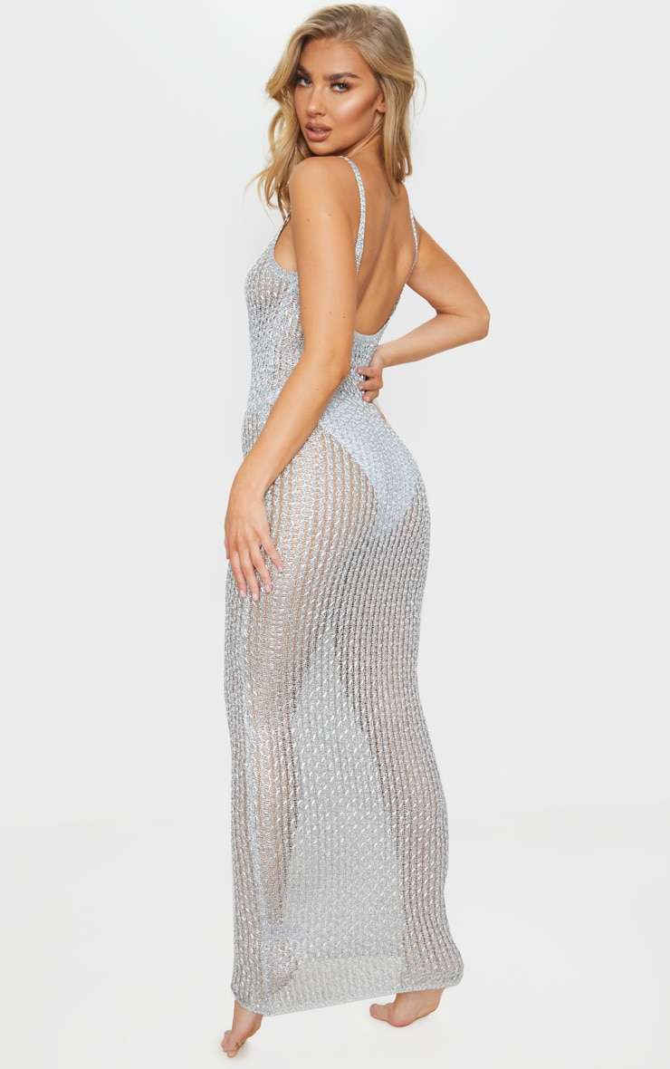 Silver Metallic Knitted Maxi Dress 2