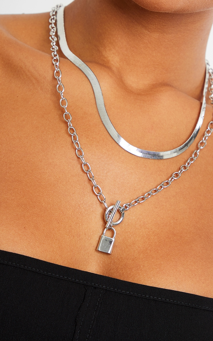 Silver Snake Chain And Padlock Layering Necklace 2