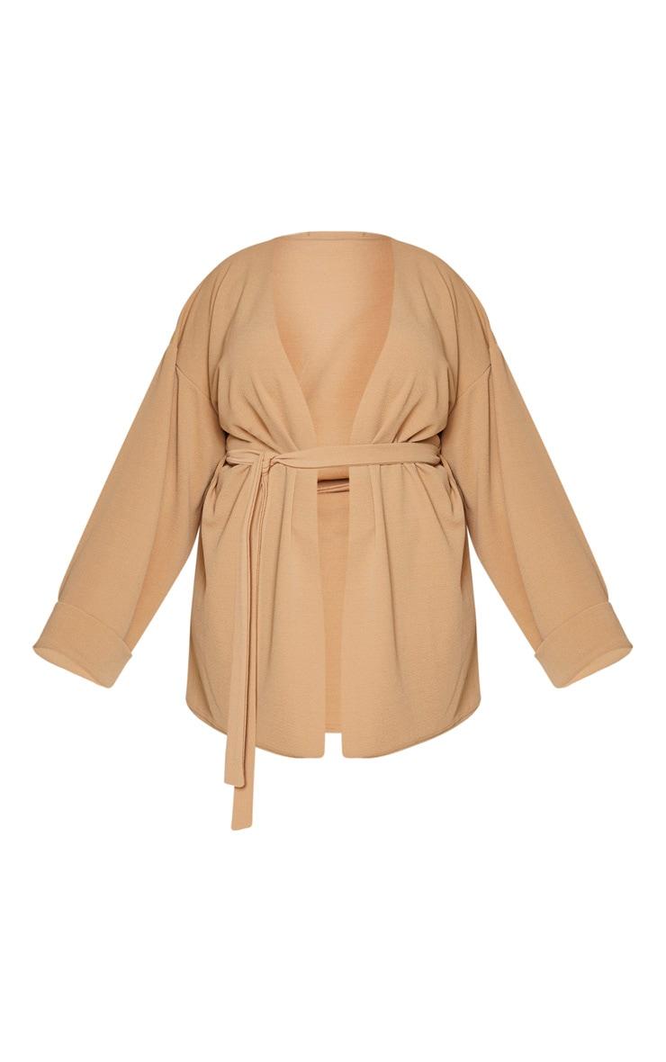 Plus Camel Belted Oversized Sleeve Blazer 5