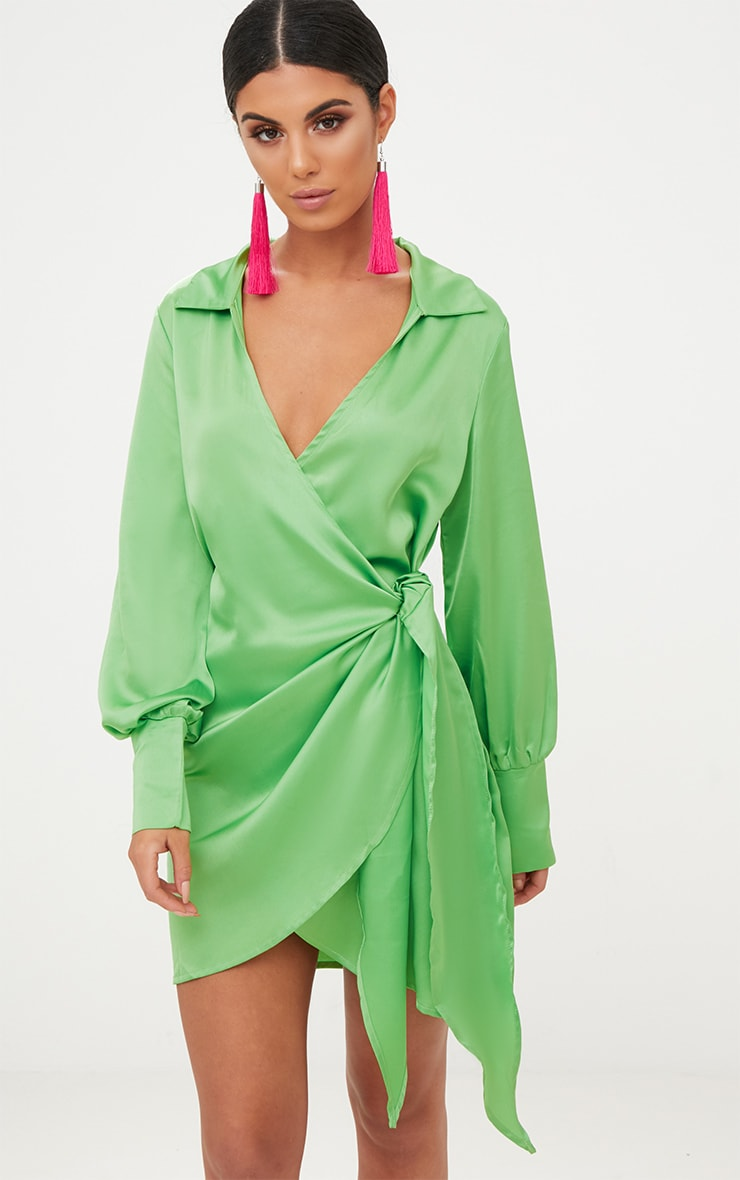 Lime Satin Deep Cuff Wrap Front Shift Dress  1