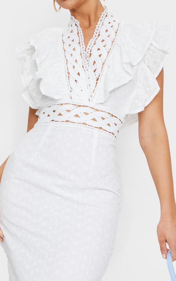 White Broderie Anglaise Trim Detail Midi Dress 4