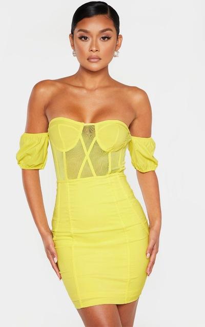 78b194ba Bright Yellow Bardot Mesh Insert Panelled Bodycon Dress