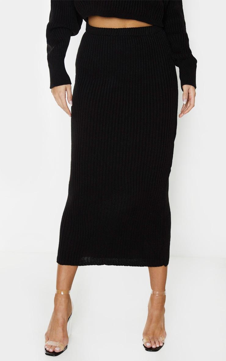 Tall Black Knitted Midi Skirt 2