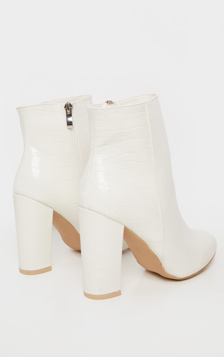 White Croc Behati Ankle Boot 4