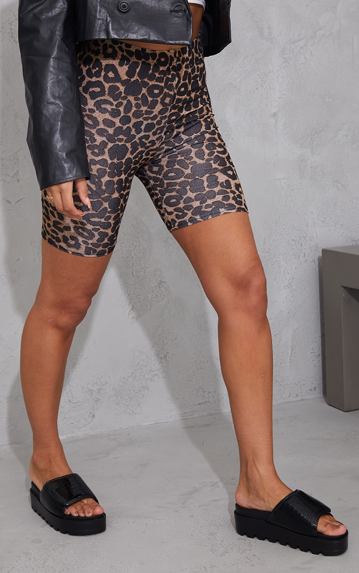 Brown Leopard Print Cycle Short 2