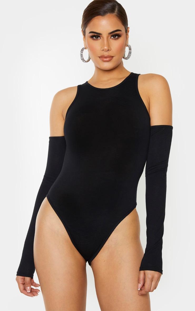 Tall Black Jersey Cut Out Shoulder Bodysuit 2
