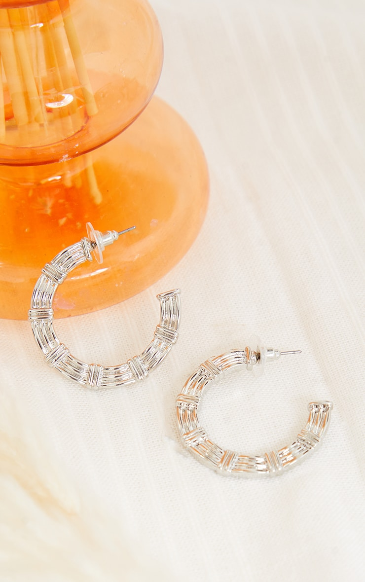 Silver Triple Line Hoop Earrings 1