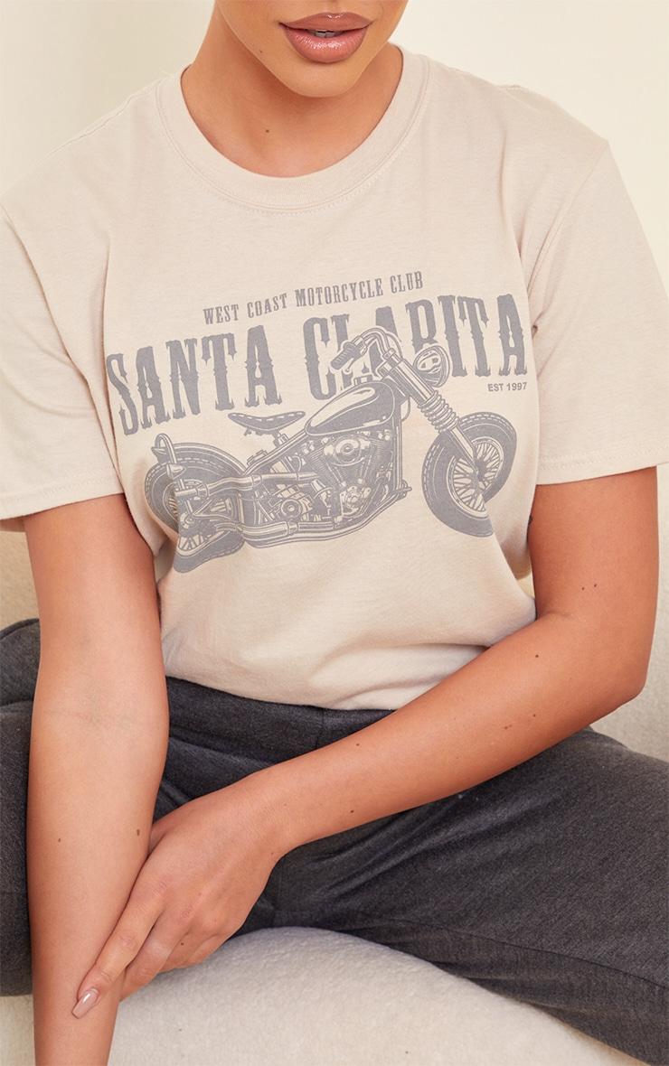 Sand Santa Clarita Motorcycle Print Fitted T Shirt 4