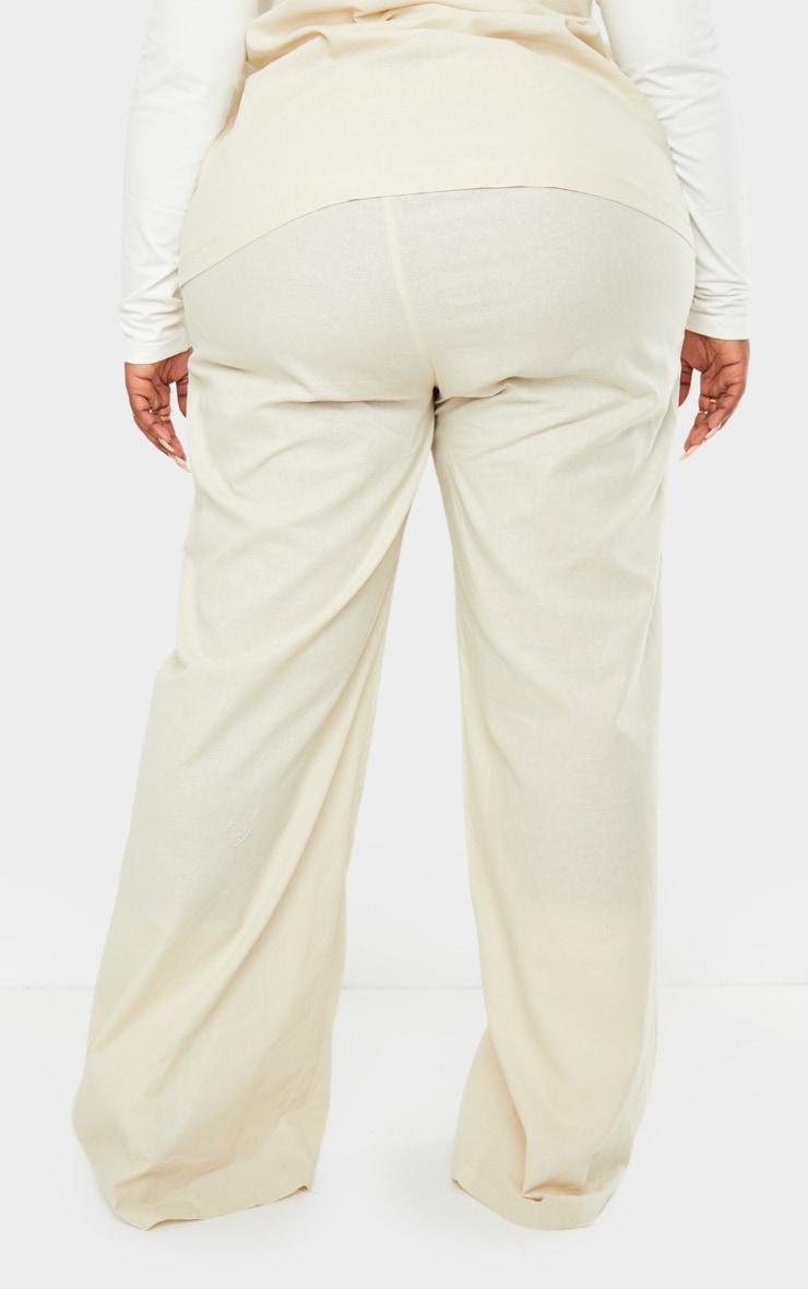 Plus Cream Woven Wide Leg Pant 3