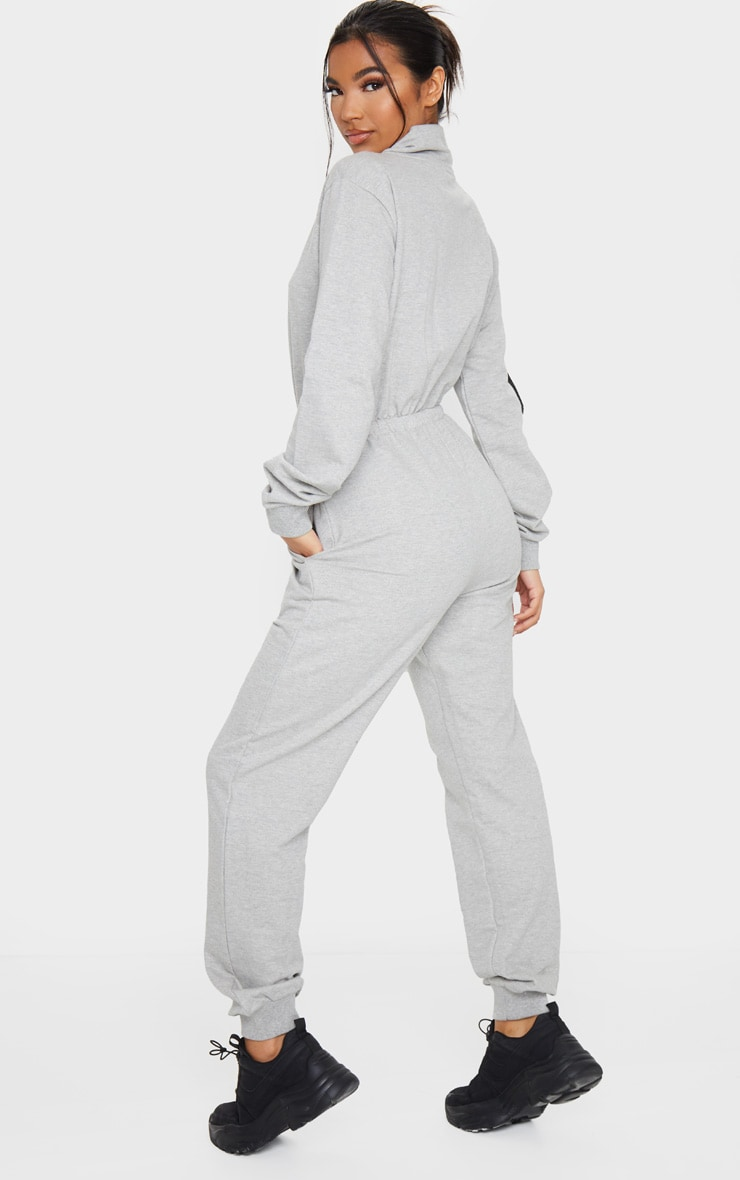 Grey Zip Detail Sweat Jumpsuit 2