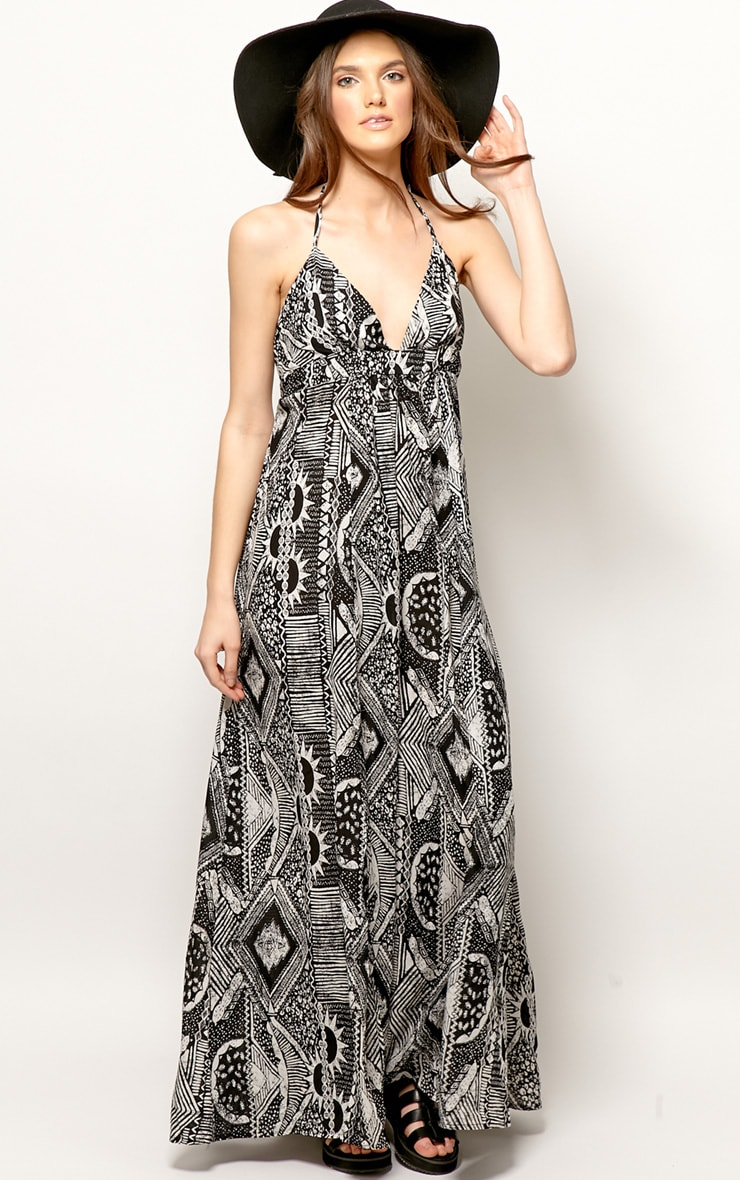 Cailin Black & White Aztec Print Maxi Dress 3