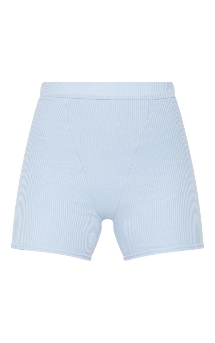 Light Blue Ribbed Bike Shorts 1