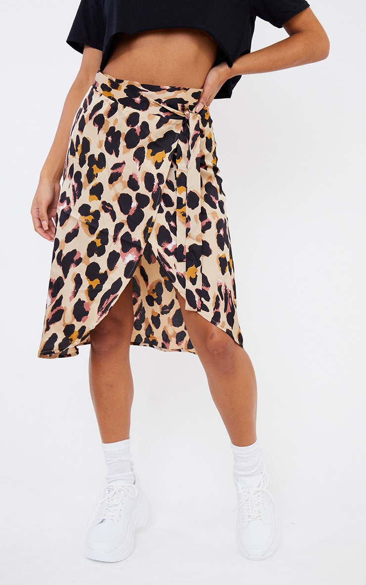 Leopard Print Wrap Around Midi Skirt 2