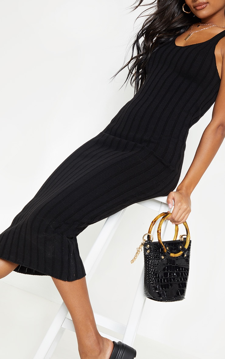 Black Ribbed Knitted Midaxi Dress 5