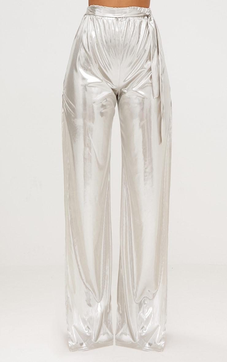 Gold Slinky Foil Tie Waist Wide Leg Trousers 3