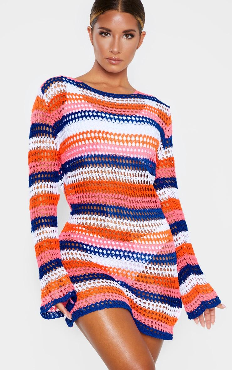 Robe en crochet à rayures multicolores 1